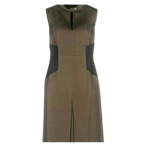 Belstaff England Olive Inverted Pleat Chic Dress